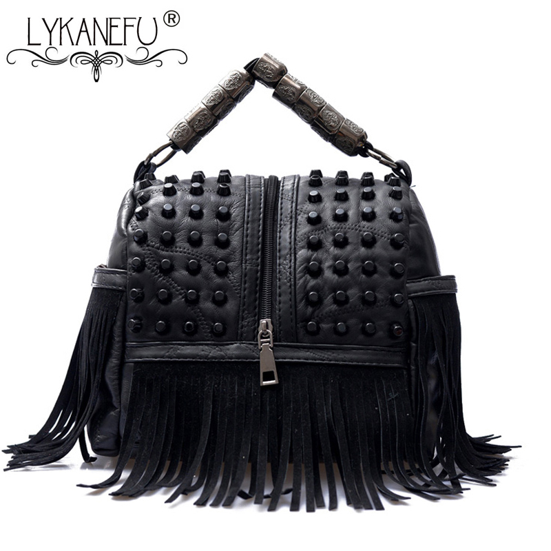 154ef1e143 Detail Feedback Questions about LYKANEFU Punk Street Women Messenger Bags  Black Rivet Tote Handbag Shoulder Bag with Long Strap Crossbody Purse Cool  Bag ...