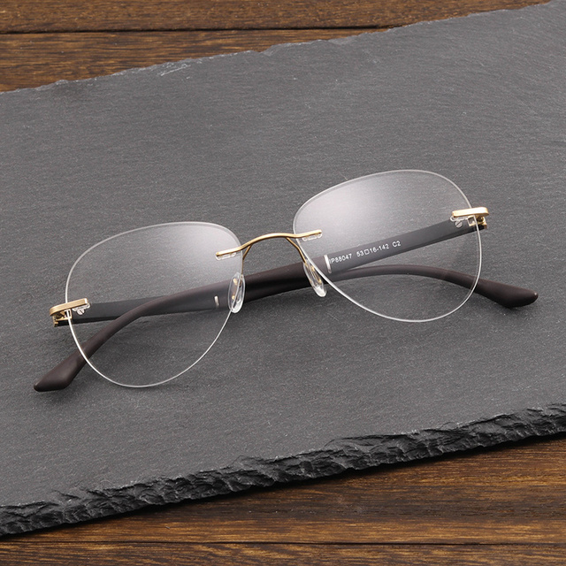 9605c3e2907 Retro Rimless Eye Glasses Frame Brand Designer Vintage Myopia Computer  Clear Optical Prescription Eyewear Frames For