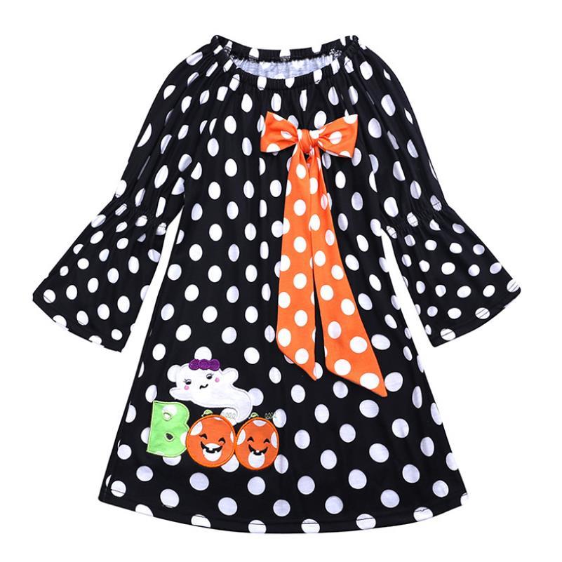 064283ec2544c 2018 bebek kız cadılar bayramı elbise uzun kollu puantiyeli kabak baskı  Patchwork prenses kız tatil parti kostüm 1-6Y