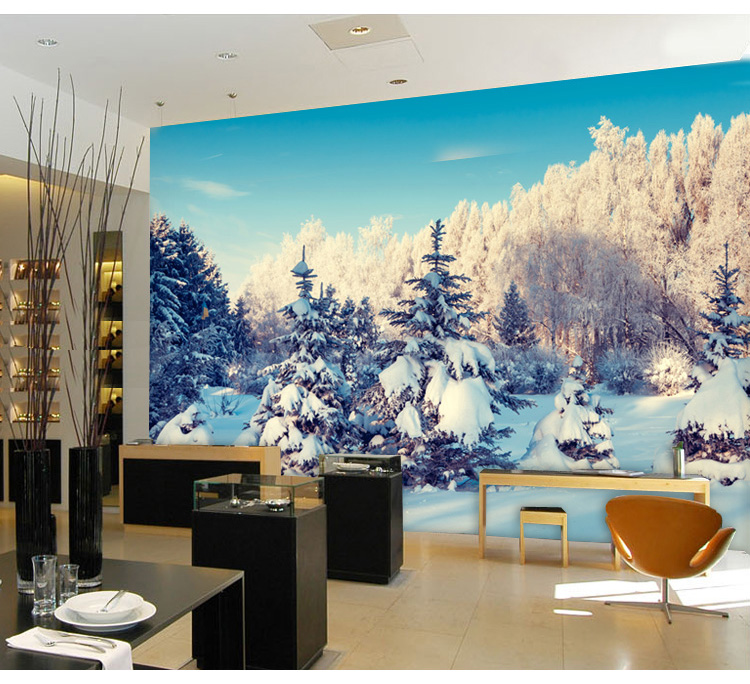 Custom 3D stereo large mural winter snow non-woven 3D wallpaper bedroom sofa TV background wall 3D wallpaper educational resource allocation