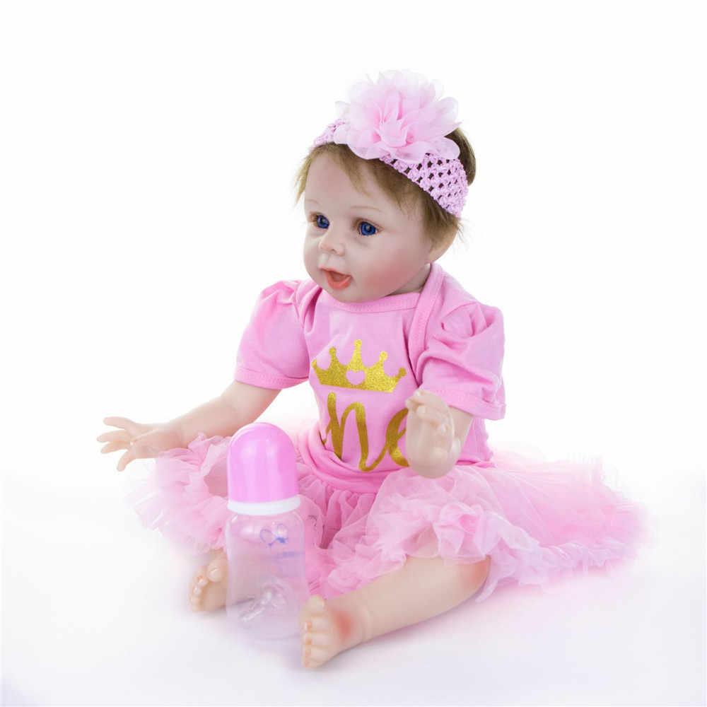 NPK 55 см Силиконовые реборн Спящая кукла Дети Playmate подарок для девочек детские живые мягкие игрушки для букетов Куклы Детские реборн игрушки