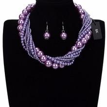 цена на BK Fashion Jewelry Resin Pearl Chain Chunky Choker Statement Pendant Bib Necklace