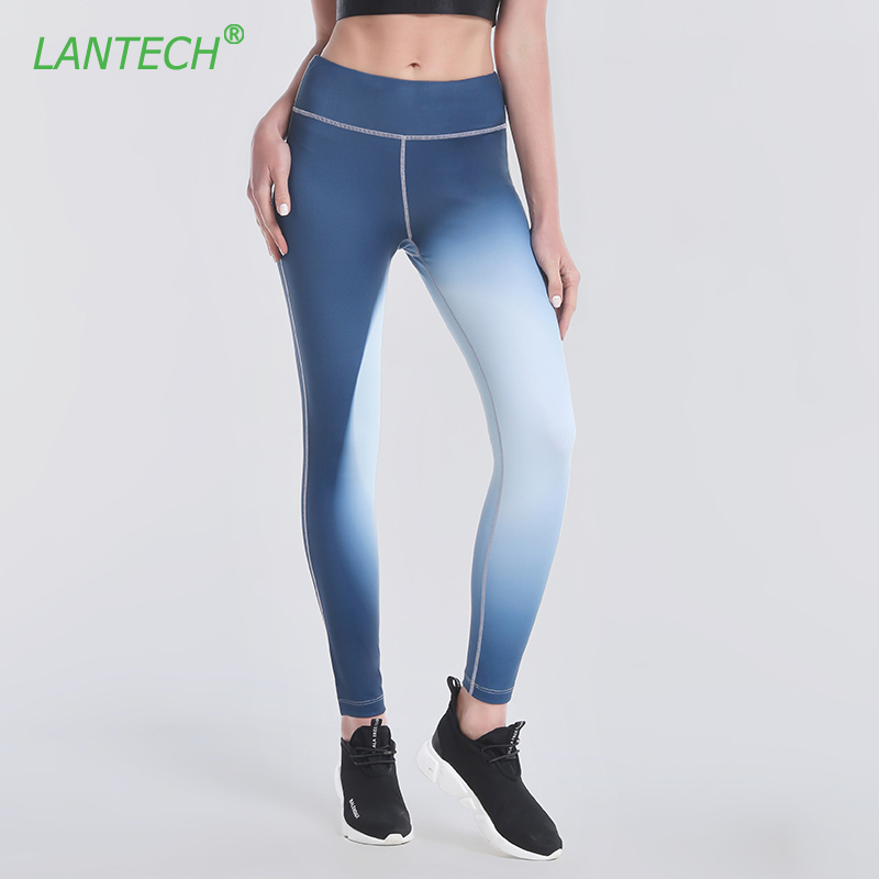 LANTECH Women Pants Sports Yoga Running Fitness Leggings Exercise Gym Compression Tights Pants Pocket Trousers Gradient Color