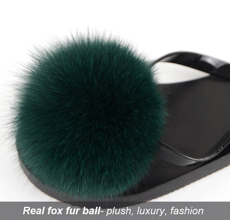 women slippers fox fur pompom (28)