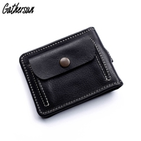 Genuine Leather Men Wallet with Spring Money Clip Handmade Bifold Short Wallet with Coin Pocket Men's Money Clip Wallet