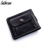 Men Wallets Slim Leather Money Clip with Coin Pocket Short Front Pocket Purses& Wallets for Men Genuine Leather Card Wallet Boy