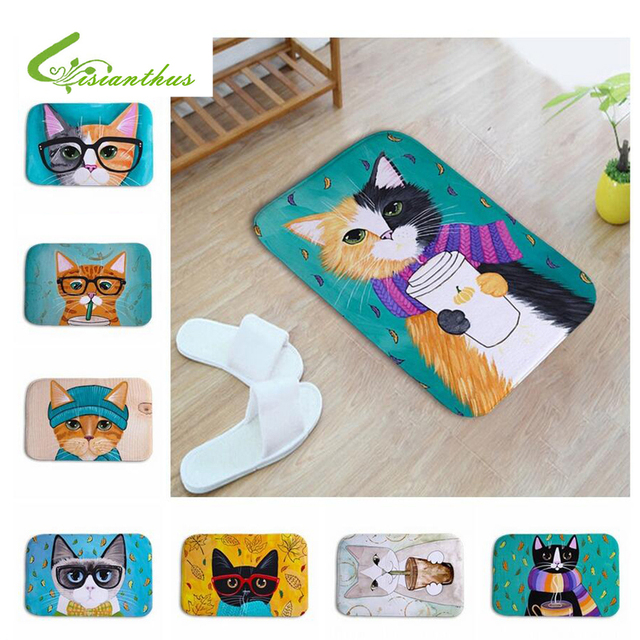 soft carpets cartoon cute cats flannel doormat absorbent slipsoft carpets cartoon cute cats flannel doormat absorbent slip resistant kitchen mat door living room bathroom welcome floor mats