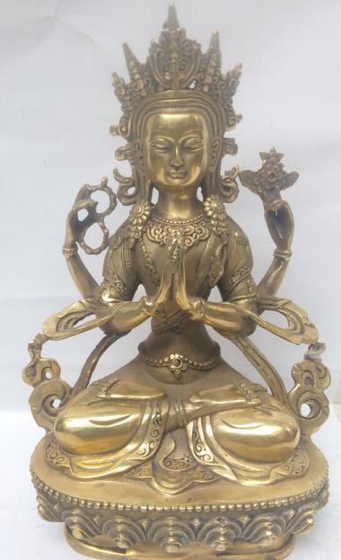 21 см */Древняя китайская бронза четыре Руки Гуаньинь Белая Тара Будда в Тибете