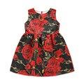 2017 New Girls Clothes Print roses Flower Kids O-neck Sleeveless Dress