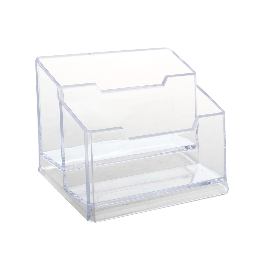 Transparent Plastic Bussiness Card 2-Tier Stand Holder