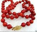 "Venda Hot new Style >>>>> 10mm Mar Vermelho Coral Rodada Beads Colar 18"""