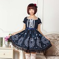 XS-6XL Women Dress Lolita Sweet Soft fabric CARDCAPTOR SAKURA one-piece dress Female Formal Princess dress Moon Star Print Dress