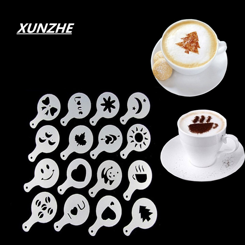 New Creative 16pcs/set Plastic Garlands Shape Thick Coffee Foam Pattern Cappuccino Barista Stencils Fantasy Coffee Prints Models