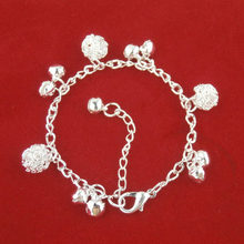 New Style Bracelet bell ball alloy plating thick silver bracelet anklet wholesale(China)
