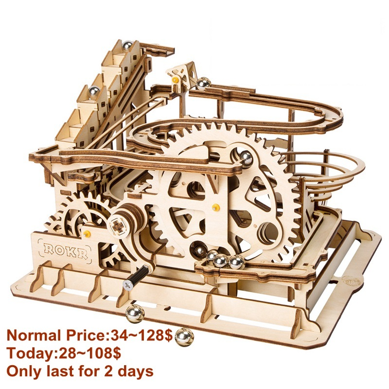 Robotime juguete 4 tipos de mármol de juego noria de la montaña rusa de madera modelo Kits de construcción de asamblea de peluche de juguete de regalo para niños adultos LG501