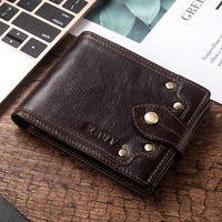 KAVIS 100% Genuine Leather Wallet Men Male Coin Purse Portomonee Clamp for Money for Zipper Pocket Card Holder Hasp Standard