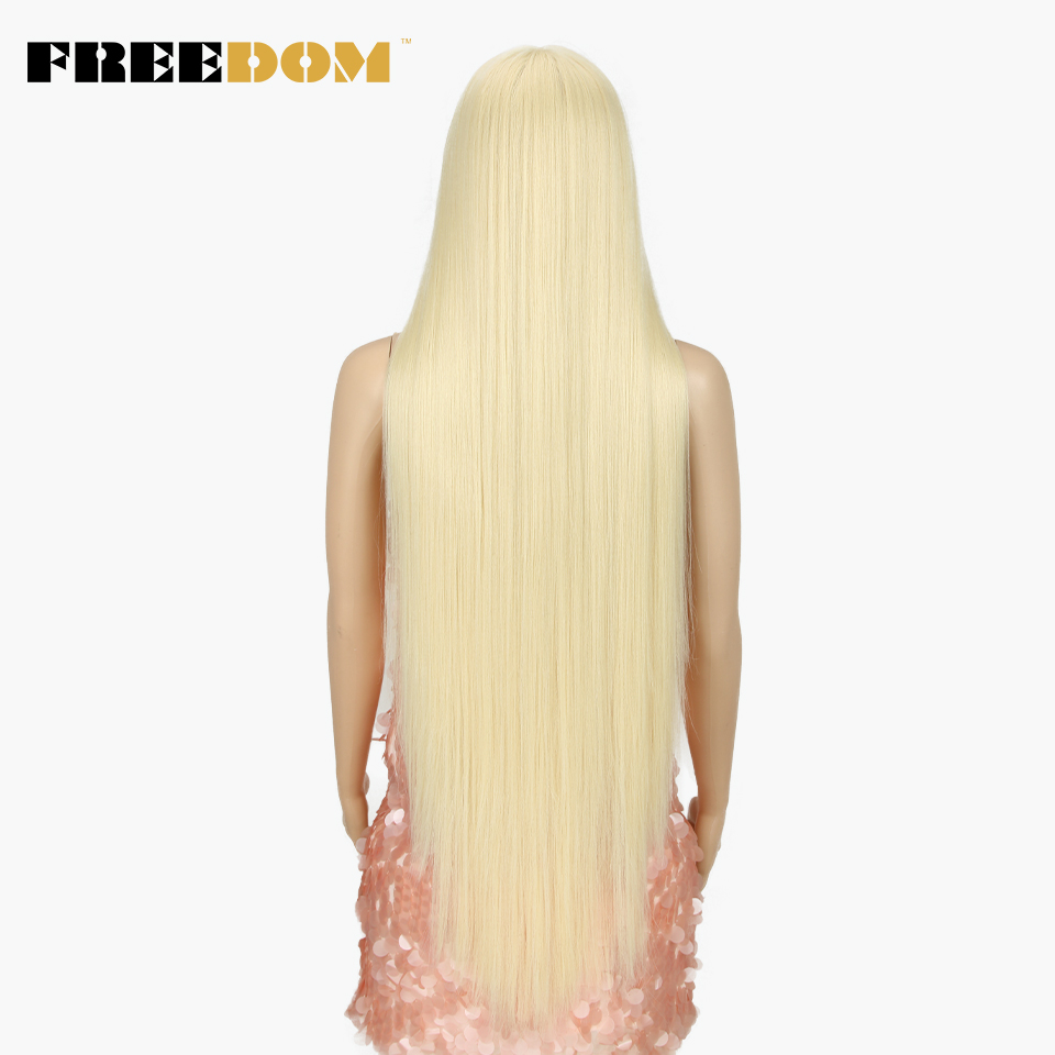 FREEDOM Synthetic Lace Front Wig For Black Women Supper Long 38Inch Ombre Blond 3 Color Natural Straight Hair Wigs Cosplay Wigs 5
