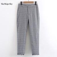 SheMujerSky broeken Spliced Encaje Retro Pantalones Pantalones de Tela Escocesa de la Vendimia de Las Mujeres de Moda mujer pantalones de mujer