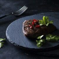 Black Texture Matte Premium Food grade Rock Stone Dish Steak Serving Dinner Plates Cheese Pizza Fruit Tray Photo Props Natural