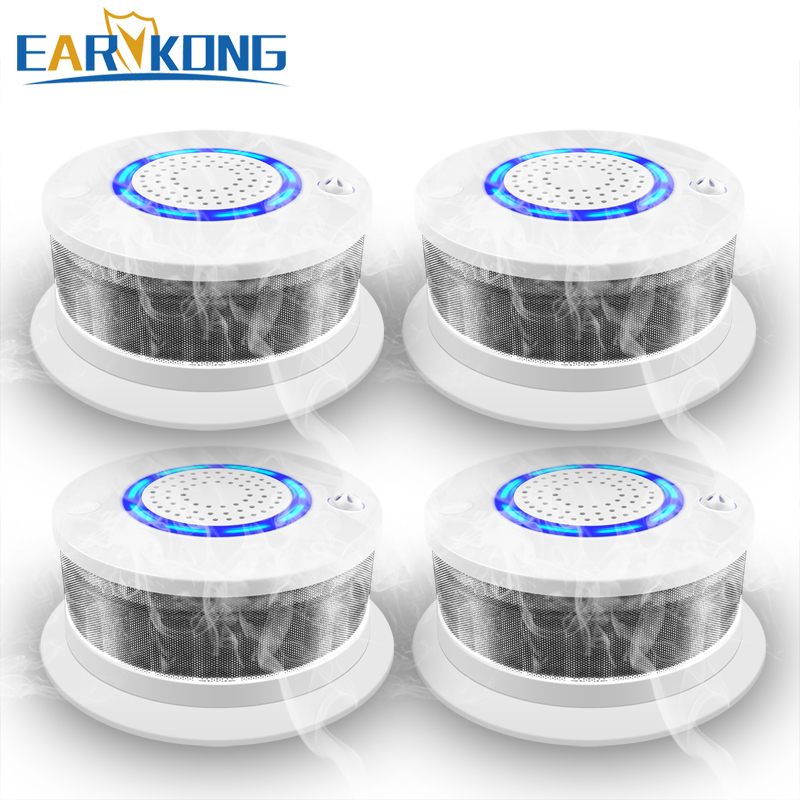 4 Pieces Of Fire Smoke Detector 433MHz Wireless Smoke / Fire / High Temperature Alarm Sound & Light Alarm For Home Security