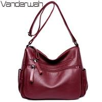 VANDERWAH Women Leather Top Handle Bags Handbags Women Famous Brands Female Casual Big Shoulder Bag Tote