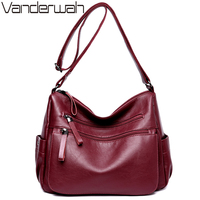 VANDERWAH Women Leather Top Handle Bags Handbags Women Famous Brands Female Casual Big Shoulder Bag Tote