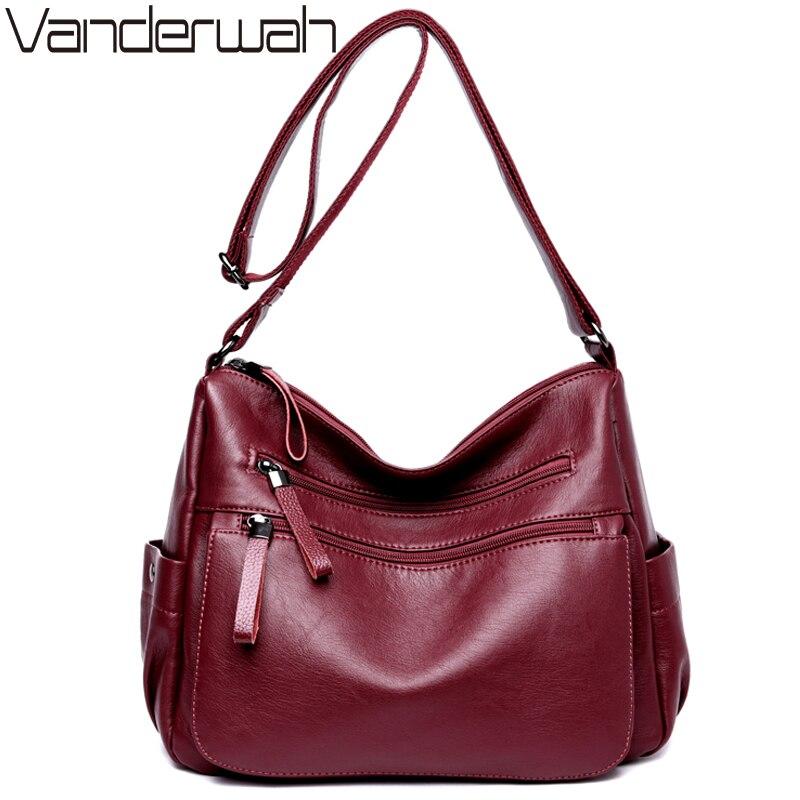VANDERWAH women leather Top-handle bags handbags women famous brands female casual Big shoulder bag Tote for girls SAC A MAIN