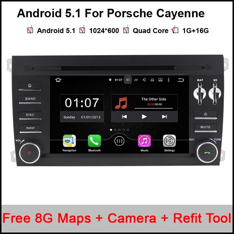 Prix pour 1024X600 Android 5.1.1 Quad Core A9 1.6 GHz CPU 16 GB Flash De Voiture Lecteur DVD pour Porsche Cayenne 2003-2010 3G Wifi Stéréo Système BT