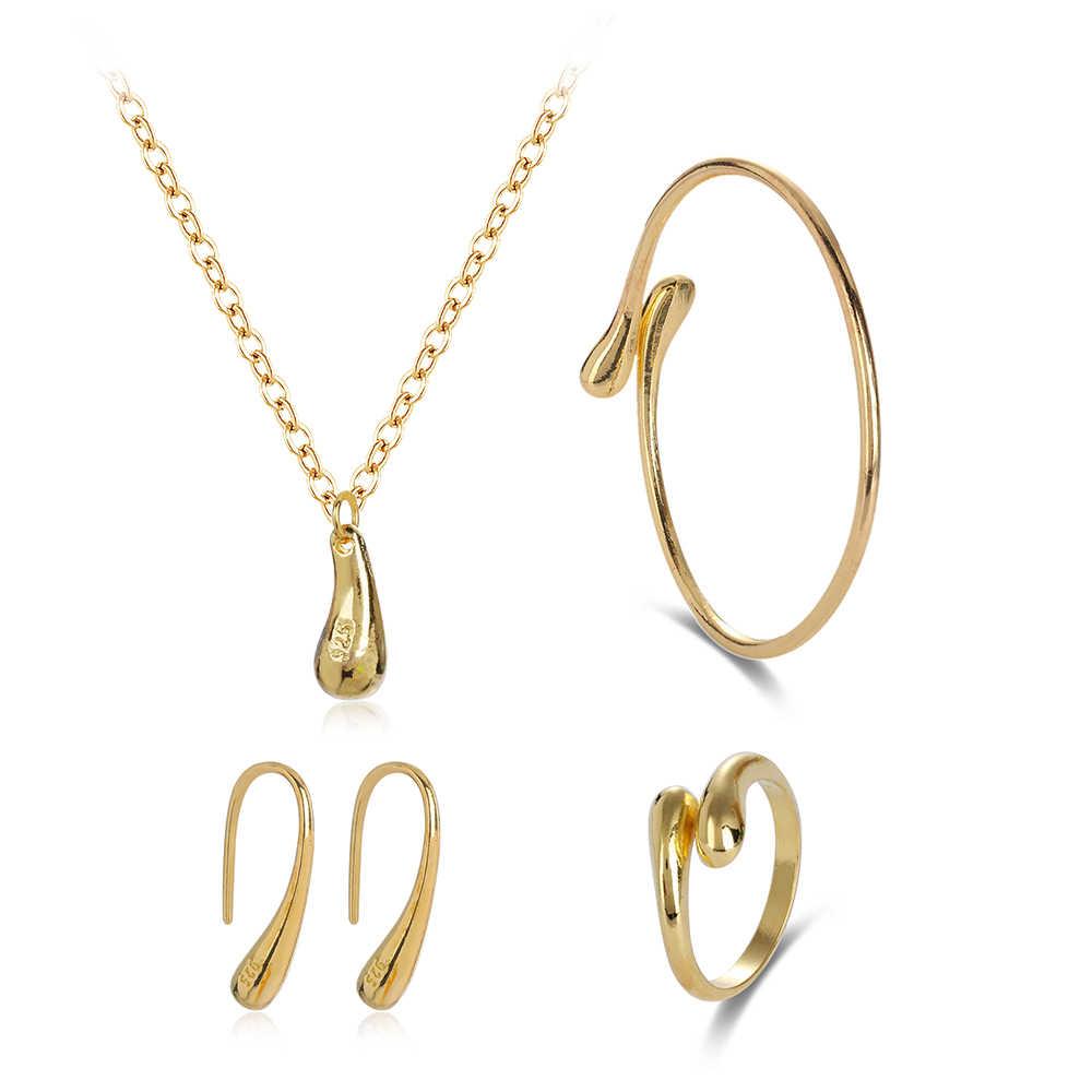1 Set Fashion Women Wedding Teardrop Bracelet Necklace Earrings Ring Open Bangle Adjustable Bridal Jewelry Sets boucle d'oreille