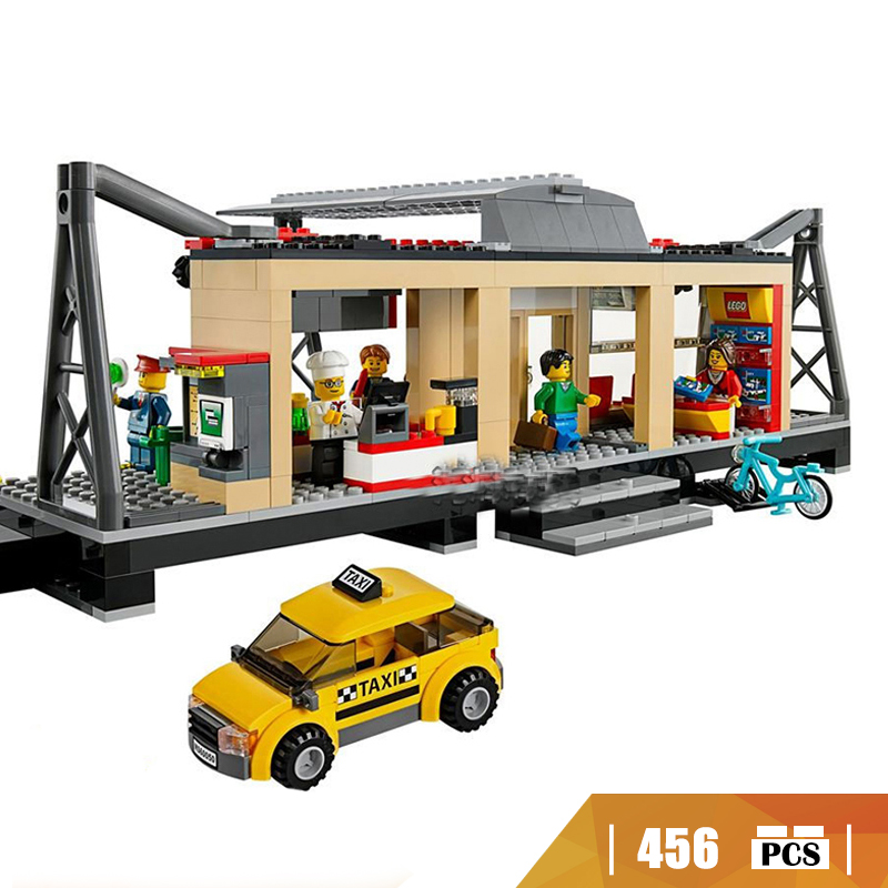 02015 Compatible with Lego blocks City 60050 Train Station Model building toys hobbies bricks for children Gifts lepin 02015 456pcs city series train station car styling building blocks bricks toys for children gifts compatible 60050