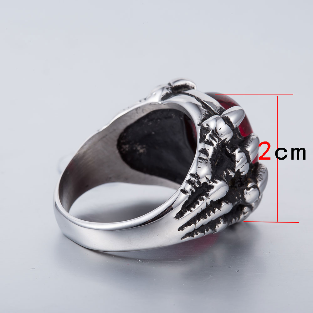 Anillo de acero inoxidable de moda WAWFROK anillos de calavera de hombre para mujeres anillo de plata Popular Punk Red Stone Jewelry garra dedo 4