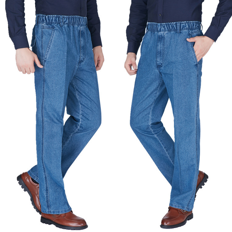 Paragraph 2019 Spring Season Thin Elastic Waist Elastic Casual Men's Jeans Loose Jeans
