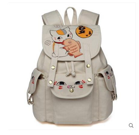 Anime Natsume Yuujinchou Cosplay 2017 new Korean version of the campus hand painted canvas bag leisure backpack 2017 new painted canvas bag shoulder bag korean version of the travel backpack student bag school bag campus