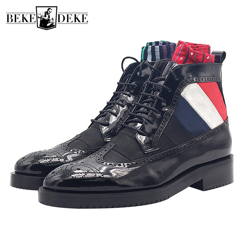 Brogues Boots Men Lace Up Cow Leather Handmade Ankle Boots Brand Carved High Top Dress Office Shoes Male Oxford Botas Plus SizeBrogues Boots Men Lace Up Cow Leather Handmade Ankle Boots Brand Carved High Top Dress Office Shoes Male Oxford Botas Plus Size