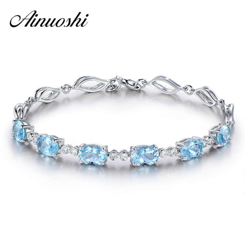 AINUOSHI 4.5ct Natural Sky Blue Topaz Oval Gemstone jewellery Strand Bracelets & Bangles Real 925 Silver Fine Jewelry for Women