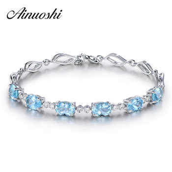 AINUOSHI 4.5ct Natural Sky Blue Topaz Oval Gemstone jewellery Strand Bracelets & Bangles Real 925 Silver Fine Jewelry for Women - DISCOUNT ITEM  42% OFF All Category