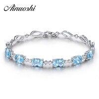 AINUOSHI 4.5ct Natural Sky Blue Topaz Oval Gemstone jewellery Strand Bracelets & Bangles Real 925 Silver Fine Jewelry for Women