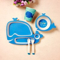 Bamboo fiber cartoon tableware 5pcs / set baby dishes Plate bowl cup Forks Spoon Dinnerware feeding Set food container cutlery
