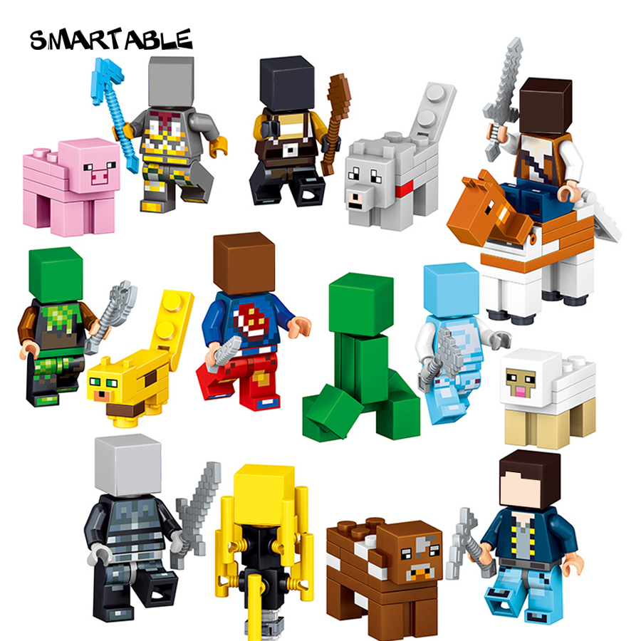 все цены на  Smartable Minecrafted Style 33009 Zombie Steve Enderman figure Building Block Toys Compatible Legoing Minecrafted LEPIN Model  в интернете
