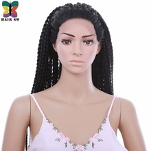 HAIR SW Afro Long Straight Lace Front wigs Natural Black Senegal BOX BRAIDS Synthetic hair Hairline For African American Women