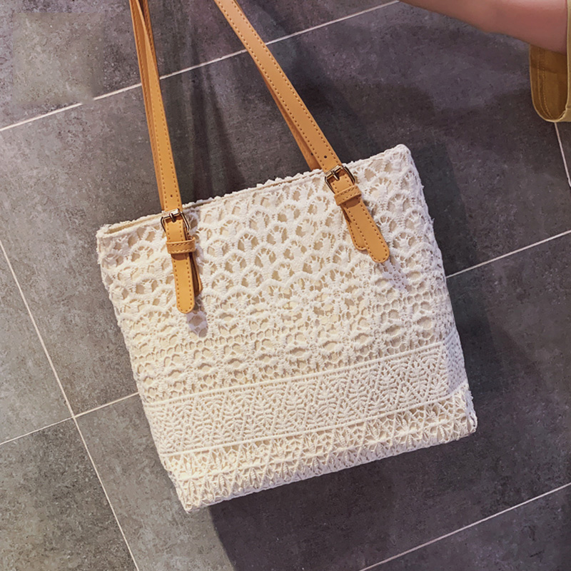 Lace Flower Beige Casual Women Shoulder Bag Bohemian Square Birthday Gift Handbag For Girl Vintage Street Totes Lady Bolso
