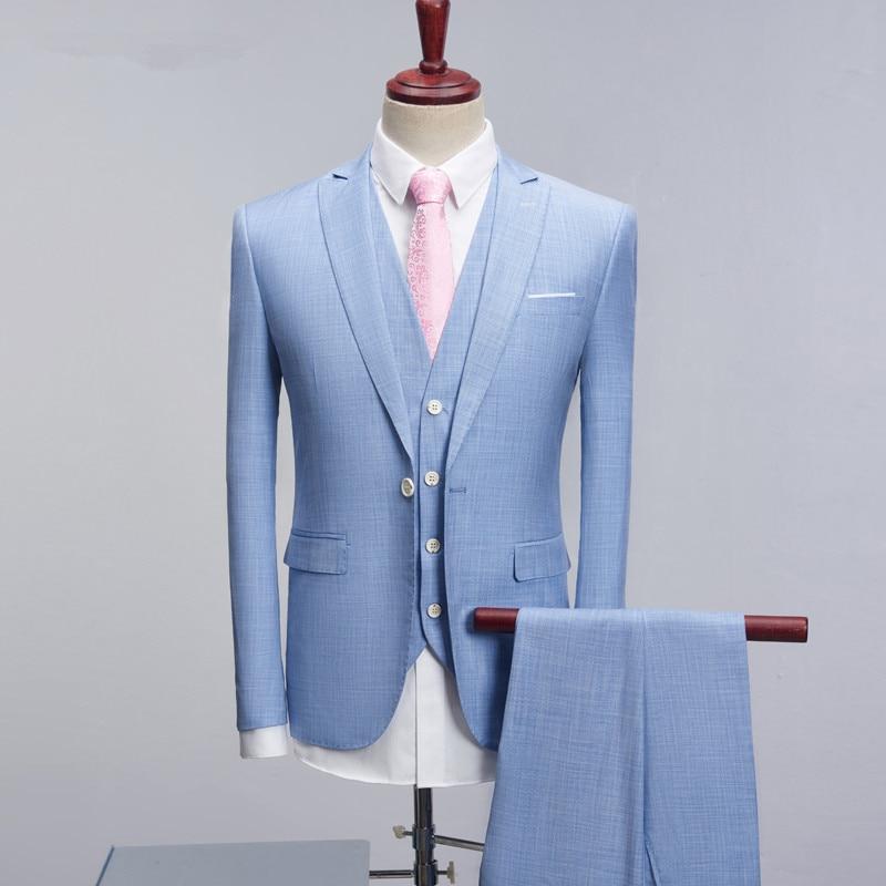 Robe pu Gilet Couleurs Costume Mariage Costumes Haute Fit Qualité Formel Hommes veste D'affaires Royal Ciel 3 Homme Pantalon Bleu Vêtements Marié bleu Slim De SRnxXa