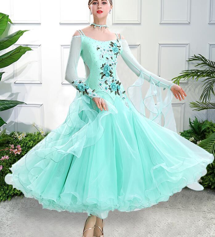 Image 3 - vestiti da ballo standard donna waltz dress   vals dance dress kadın standard ballroom dress green red customize-in Ballroom from Novelty & Special Use