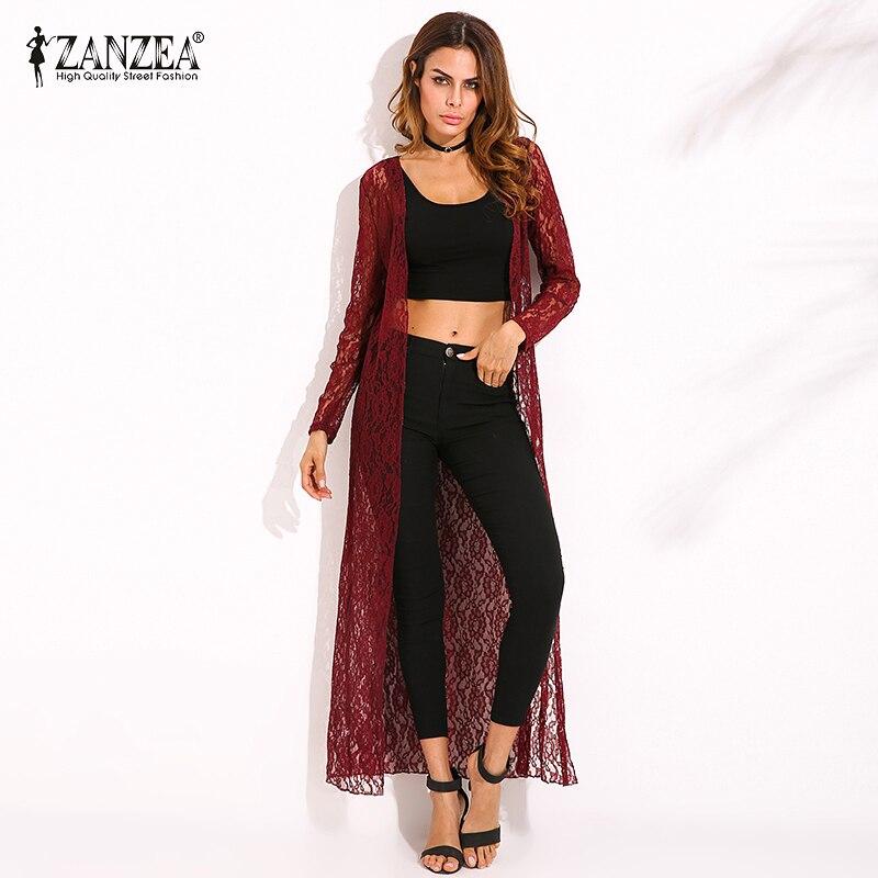 ZANZEA Cardigan 2018 Summer Women Outerwear Lace Crochet Blusas Tops Long Sleeve Beach Casual Loose Long   Blouse     Shirts   Plus Size