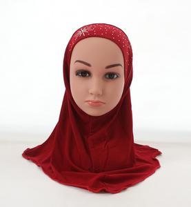 Image 3 - Kid Girls Islamic Muslim Arab Hijab Scarf School Rhinestone Child Headwear Abaya Nace Cover Bonnet Shawl Wrap Headscarf Fashion