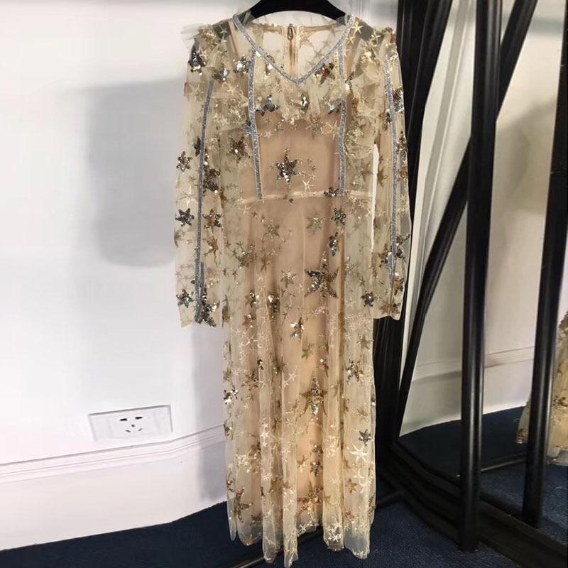V A Partie ligne Robe À Pour Femmes 2019 Paillettes Manches Nouveau Mode Élégant cou Longue Longues qnUIUw4xB