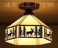 Tiffany Simple American Rural Pastoral Corridor Hallway Entrance Balcony Bathroom Elk Single Head Bedroom Ceiling Lamp
