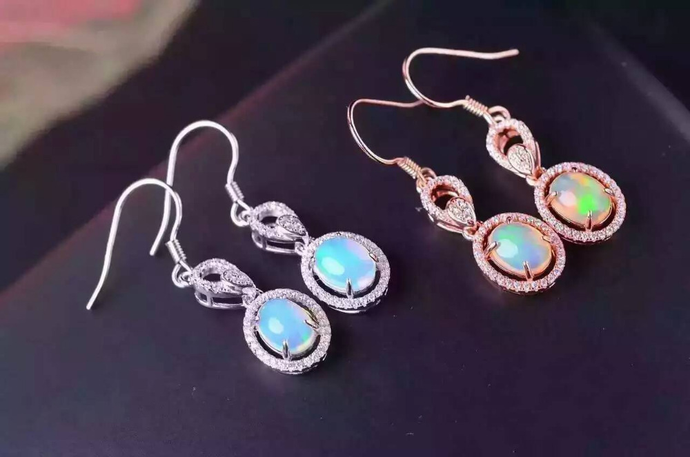Natural opal gem drop earrings 925 silver natural gemstone earrings Stylish elegant round women party fine Earrings jewelry