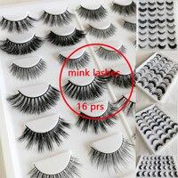 16 Pair Real Mink Hair lashes each style is ecxellent Natural Soft thick dense lash False Eyelashes Cross Lashes Fake Eyelashes