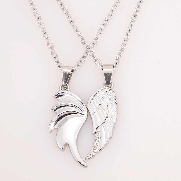 Newest Hot Sale Trendy Lovers Angel Wing Pendant Silver Plated Wings Pendant Necklace Jewelry Couple Simulation Necklaces